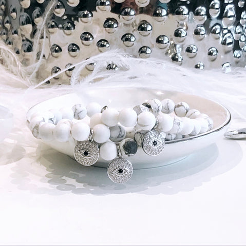 The Melissa White Howlite Evil Eye Bracelet