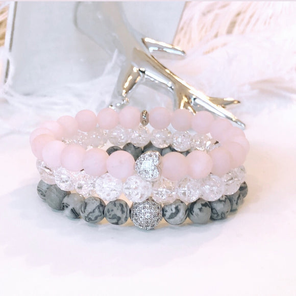 Crackle & Sparkle Gemstone Bracelet