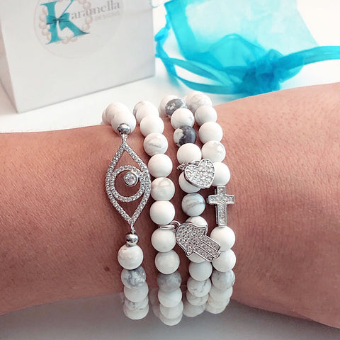Calming White Howlite beads Pavé Set Charms