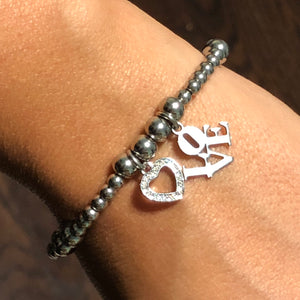 Love & Heart Stainless Steel Bead Bracelet