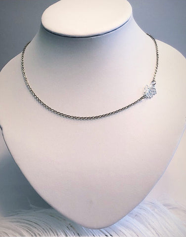 "Sterling Silver Lotus Flower Choker on 15"" stainless steel chain"