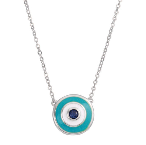 Sterling Silver Turquoise Evil Eye Necklace