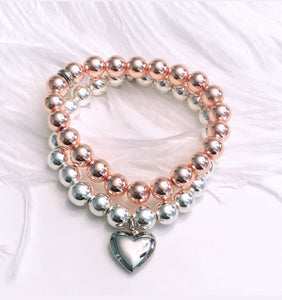 Rose Gold Hematite & Silver Hematite with Puffed Heart Charm