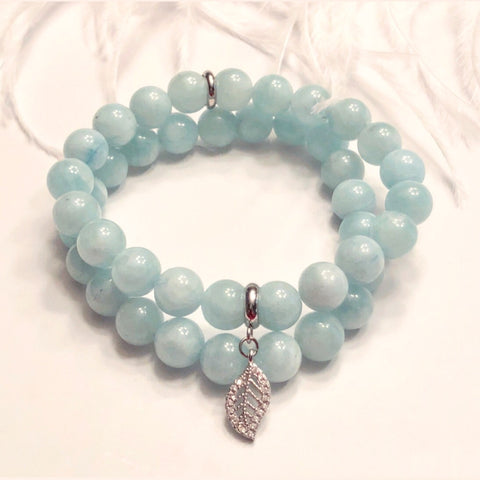 Aquamarine 8mm Bead Bracelets with Leaf Charm