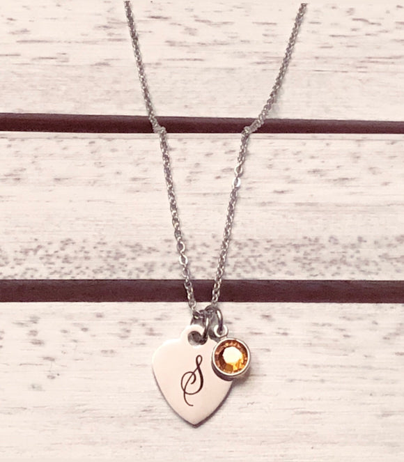 Stainless Steel Initial Necklace & Birthstone