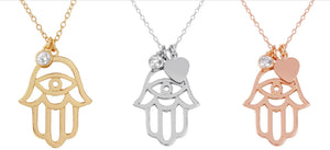 Hamsa Heart & CZ Sterling Silver Necklace