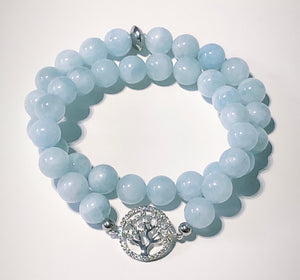 Beautiful Aquamarine Bracelets with Tree Of Life Connector Charm