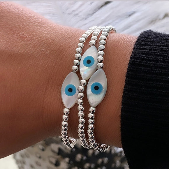 Opal and Sterling Silver Evil Eye Bracelet