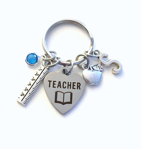 Teacher Keychains personalized with initial and birthstone