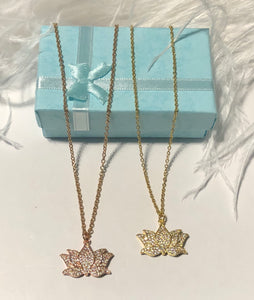 "Lotus Pavé Set Pendant on Stainless Steel 18"" Necklace"