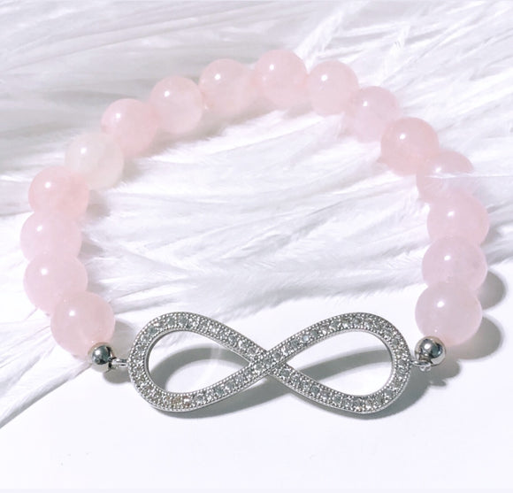 Infinity Pavé Set on Rose Quartz Beads