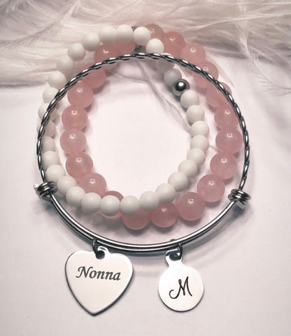 Nonna Charm on Stainless Steel Bangle with Initial
