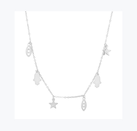 Dainty Hamsa and Evil Eye Charm Necklace
