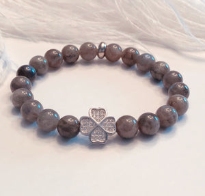 Labradorite 8mm Bracelet with Lucky Clover