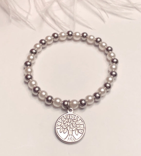 Tree of Life Pearl and Stainless Steel Bracelet