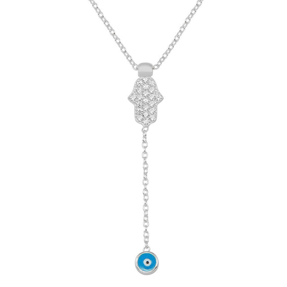Hamsa and Evil Eye Lariat Necklace