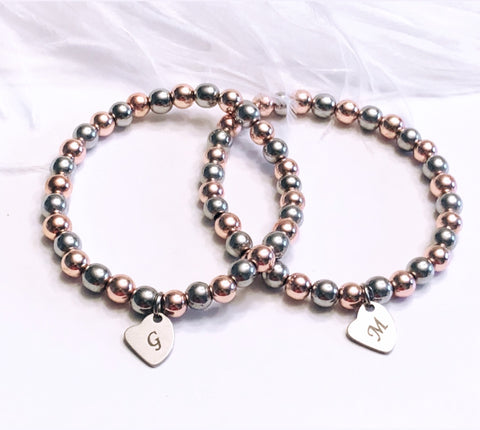 Initial Bracelet on Rose and Silver Hematite Beads
