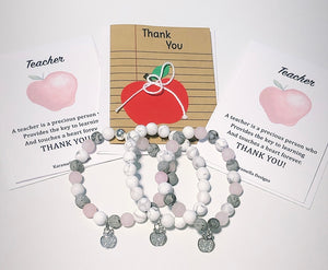 Sterling Silver Apple Charm Bracelet your choice of White Howlite or Mixed Gemstones