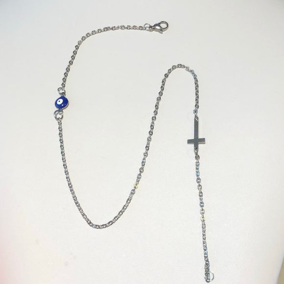 Stainless Steel Evil Eye Cross and Evil Eye Necklace