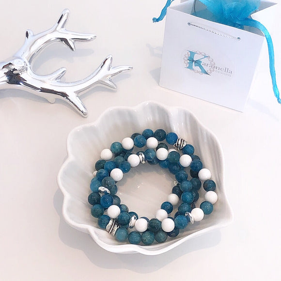 Apatite Gemstone Bracelets with Sterling Silver Leaf