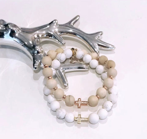 Pavé Set Cross Bead Bracelet
