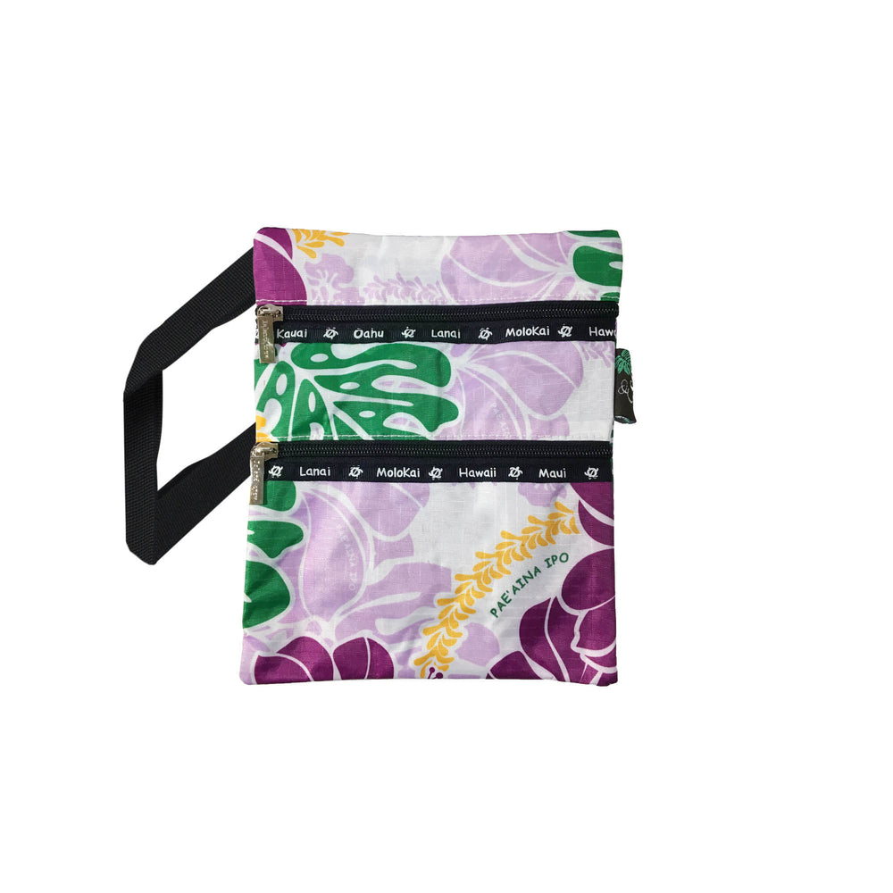 HIBISCUS Passport bag W/ HAWAII - PURPLE / SAPPHIRE