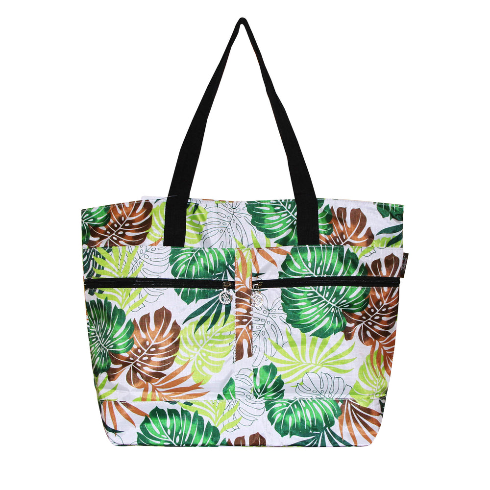 Beach Tote Bag LEAF - PINK / GREEN
