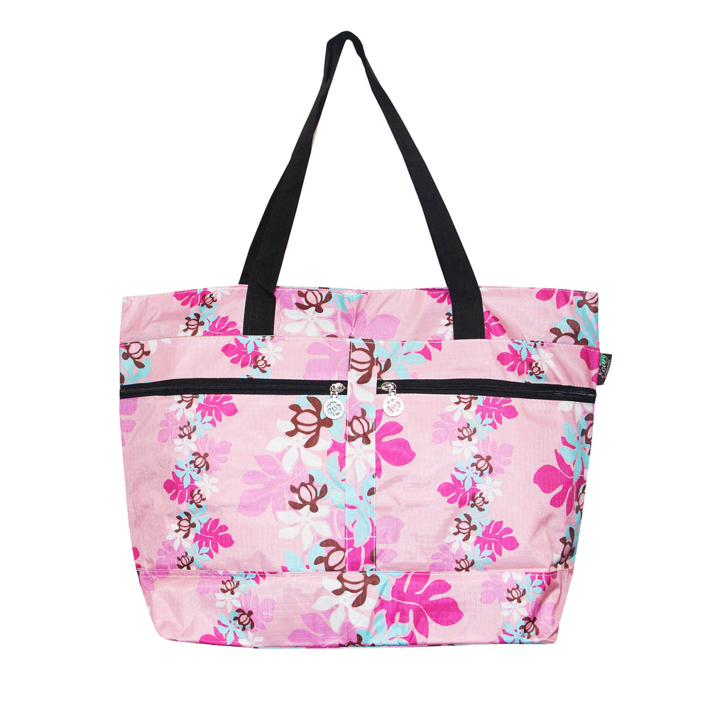Beach Tote Bag HONU W/ LEAF - WHITE / BEIGE / L BLUE / PINK