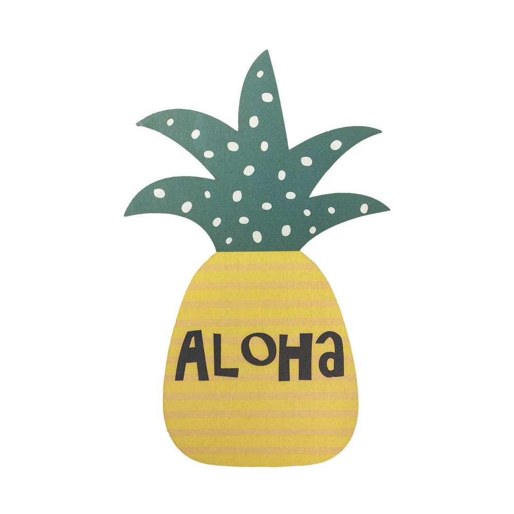 WOODEN SIGN - PINEAPPLE - ALOHA STRIPE