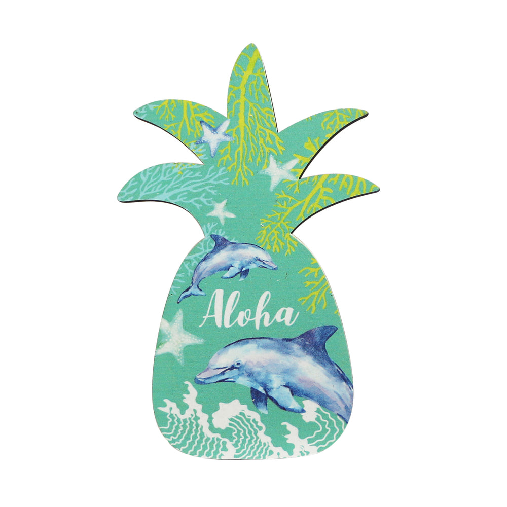 WOODEN SIGN - PINEAPPLE - DOLPHIN ALOHA