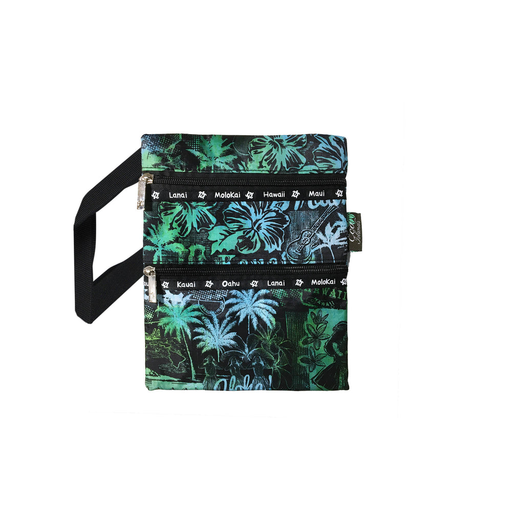 HULA GIRL Passport bag - BL-GR / OR-YE