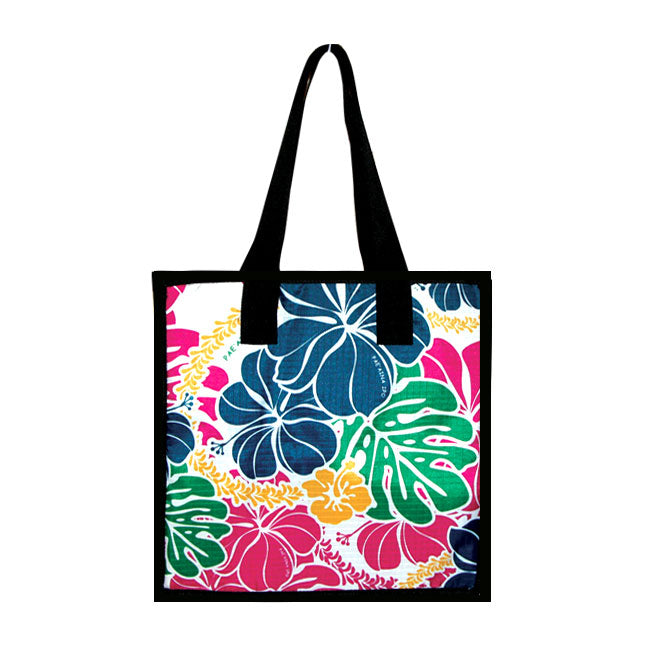 Large Cooler Bag - HIBISCUS W/ MONSTERA - SAPPHIRE / PURPLE