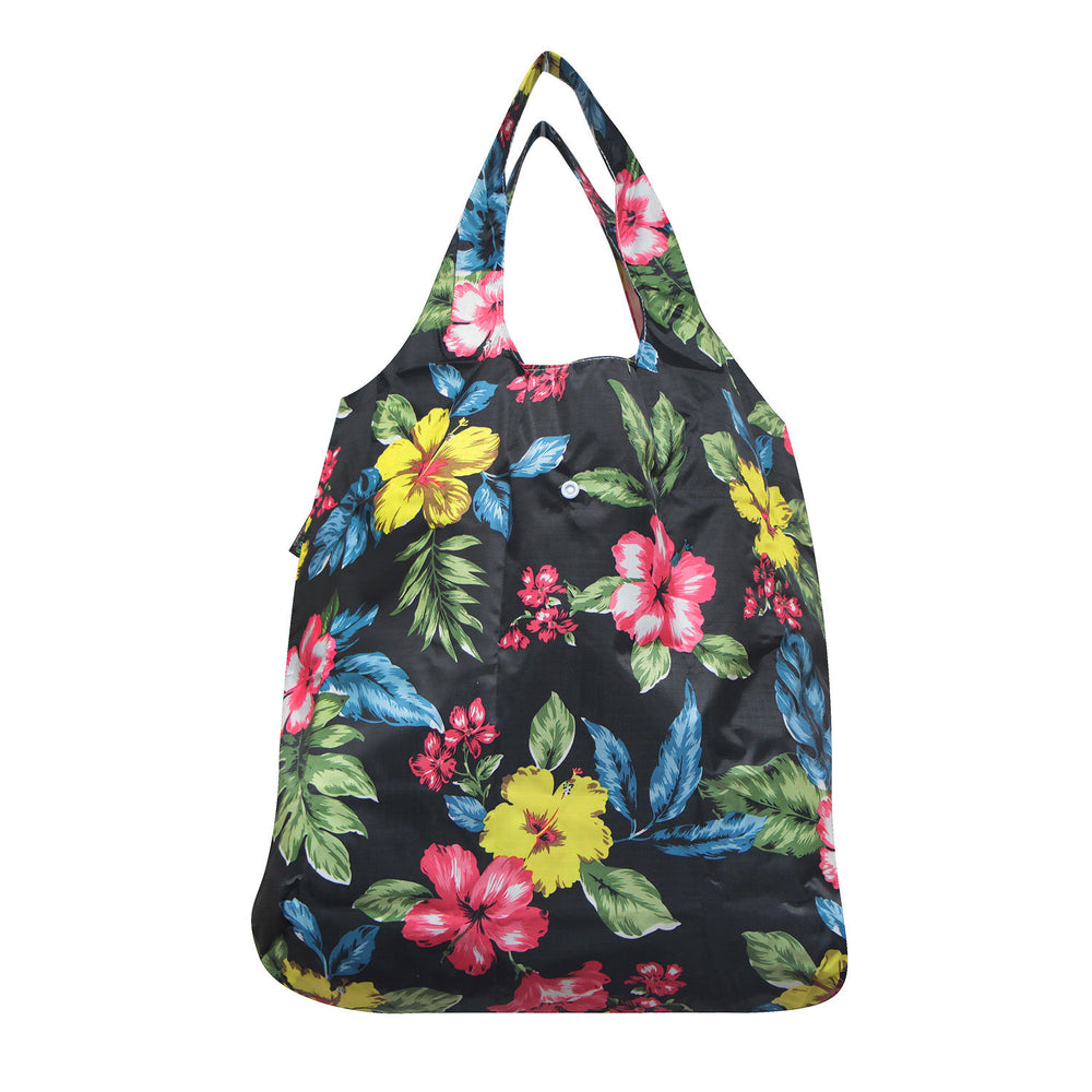 Foldable Reusable Shopping Bag PLUMERIA - BLACK