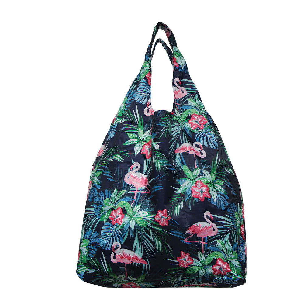 Foldable Reusable Shopping PINK FLAMINGO - LBLUE / NAVY / BLACK
