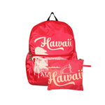 Hawaii Foldable Backpack ALOHA DIAMOND HEAD - PINK / BLUE / READ / NAVY