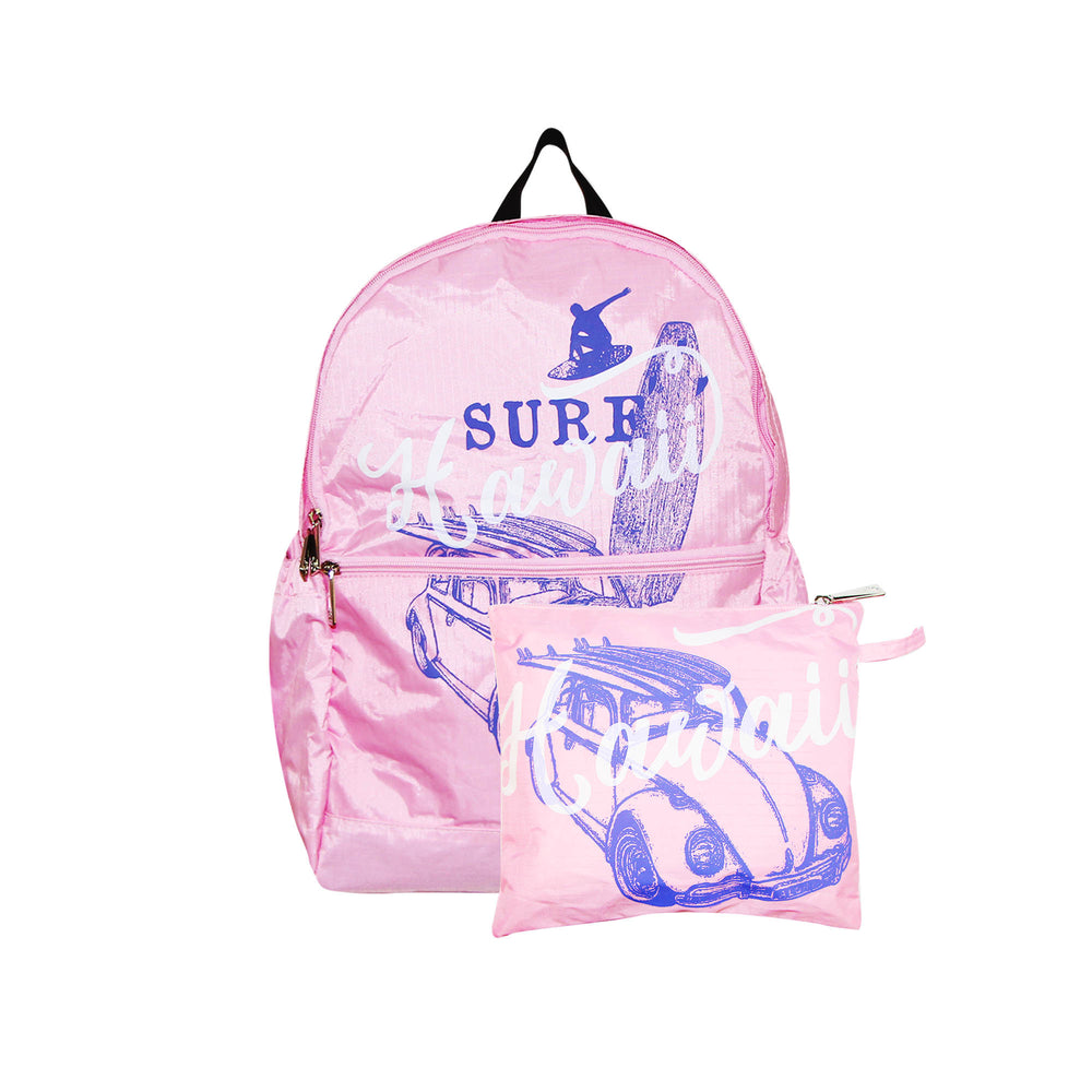 Hawaii Foldable Backpack SURF HAWAII - PINK / GREEN / BLUE / AQUA / BLACK / NAVY