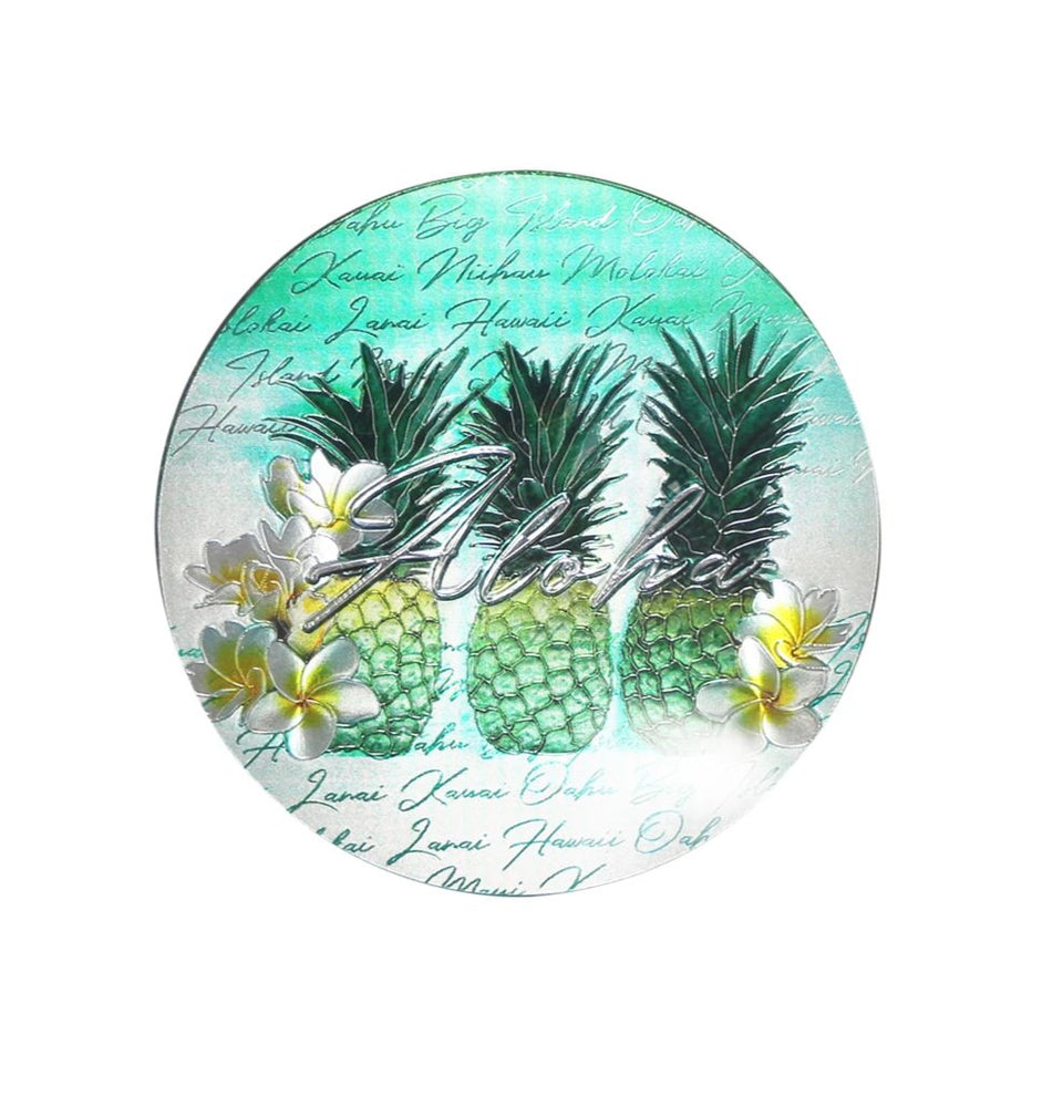 Magnet: HAWAII COASTER - GREEN PINEAPPLE [6PCS Set]