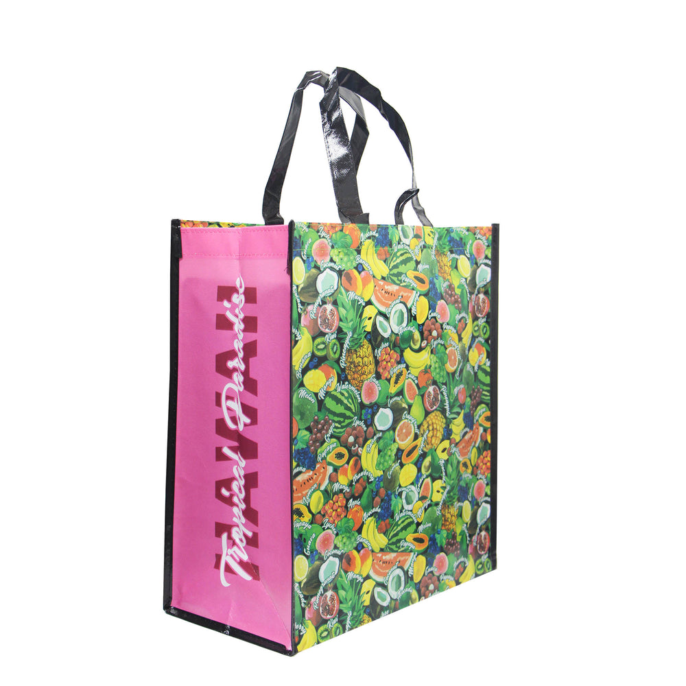 Reusable NON-WOVEN BAG - TROPICAL PARADISE - BLACK