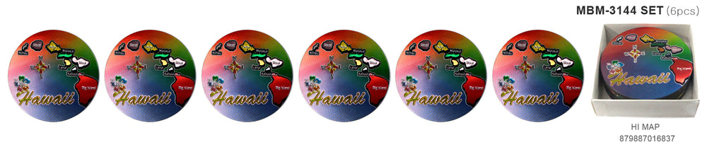 Magnet: HAWAII COASTER - HAWAII MAP [6PCS Set]