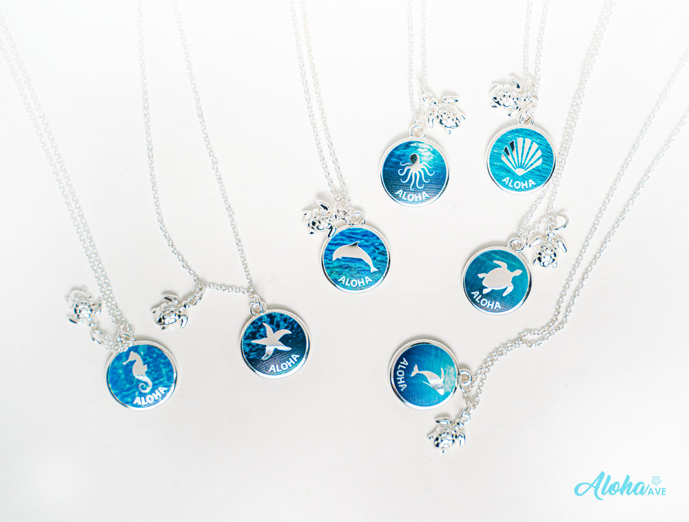 SEA ANIMALS BLUE NECKLACE