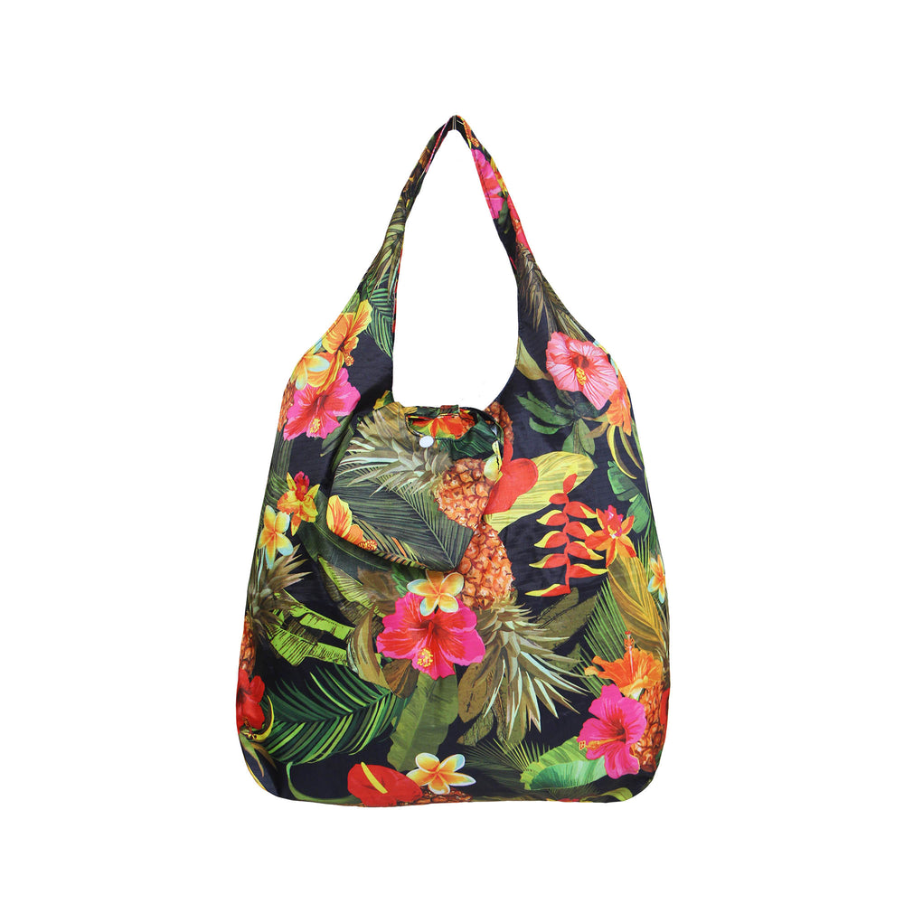 Foldable Reusable Shopping bag TROPICAL GARDEN - AQUA / BLACK