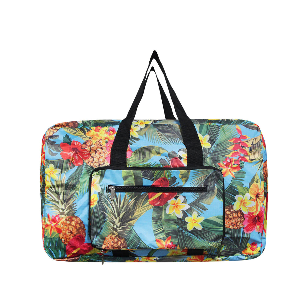 FOLDABLE Travel Bag Series TROPICAL GARDEN - BLACK / AQUA
