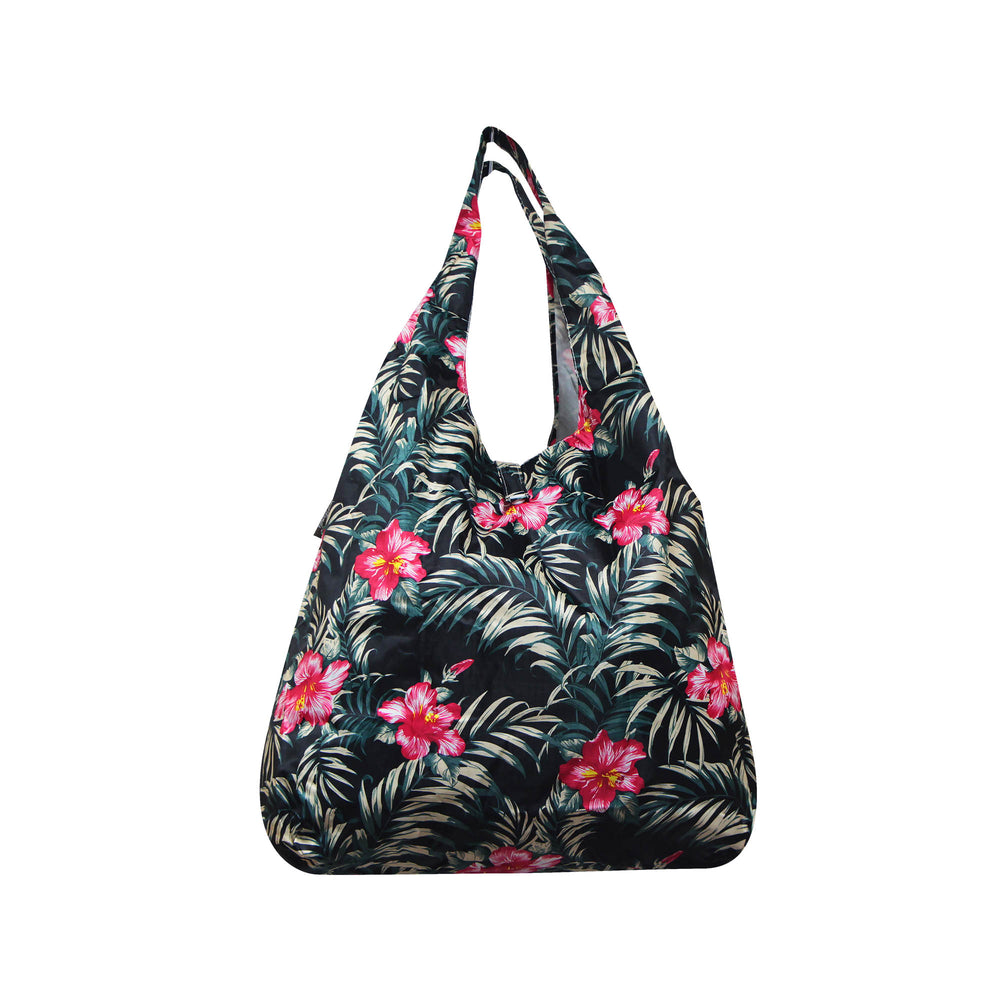 Foldable Reusable Shopping Bag HIBISCUS - NAVY / BEIGE / BLACK / WHITE