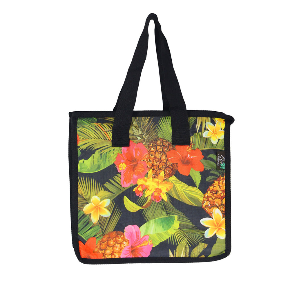 Large Cooler Bag - TROPICAL GARDEN - BLACK