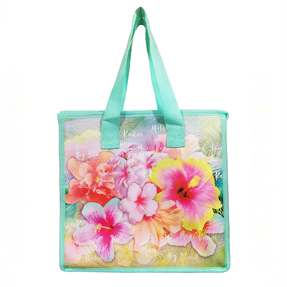 Large Insulated Picnic Bag - PINK YELLOW HIBISCUS