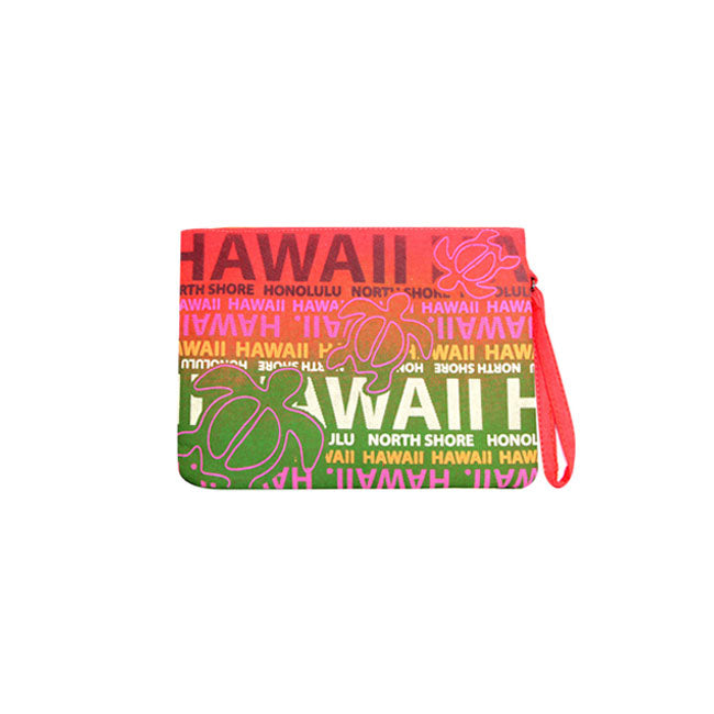 COTTON POUCH BAG - HAWAII W/ TURTLE PRINT - ORANGE / PURPLE / BLUE / YELLOW