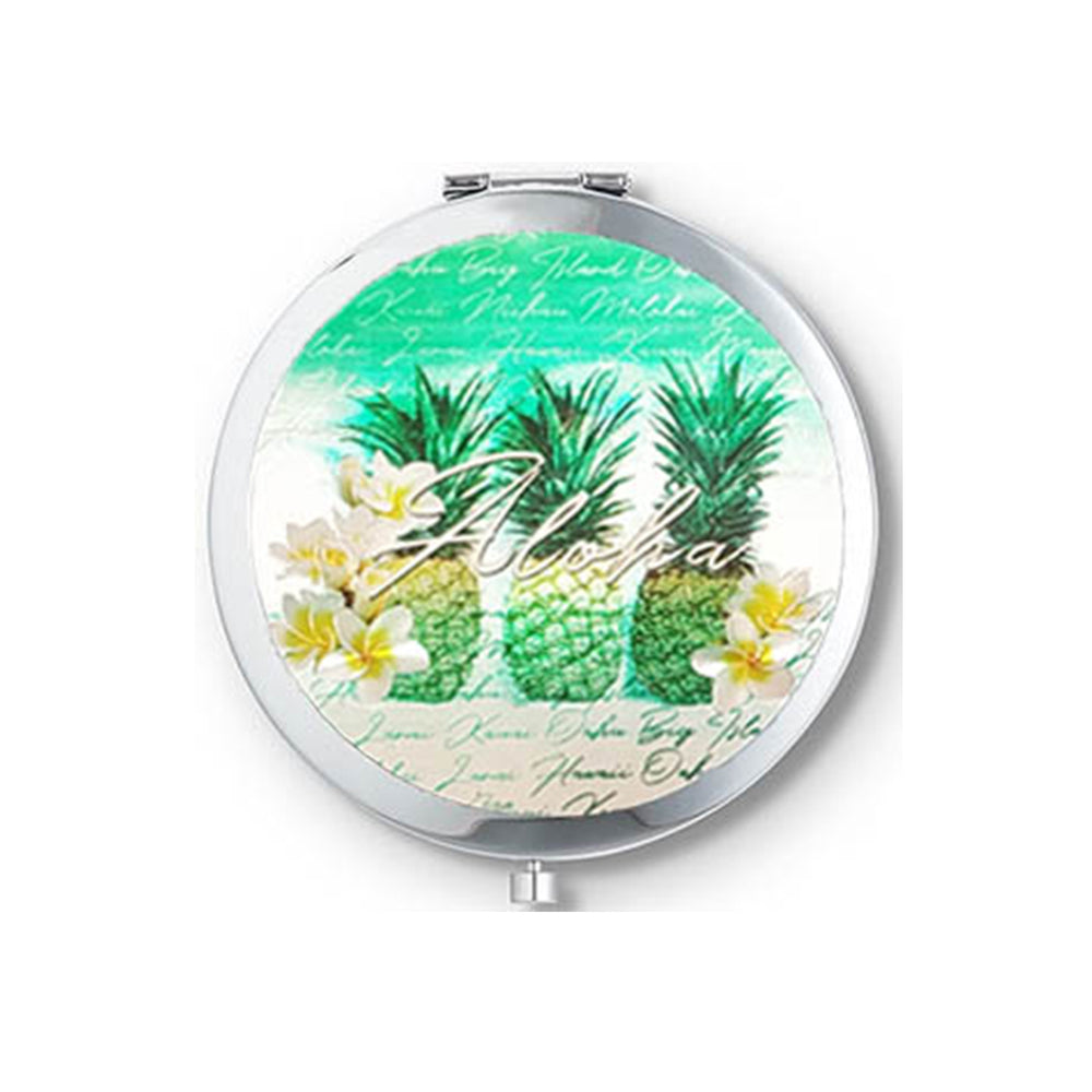 FOLDING ROUND DOUBLE GLASS METAL MIRROR: GREEN PINEAPPLES
