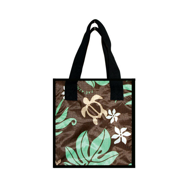 SMALL COOLER BAG -MONSTERA W/ HONU - GREEN / BLACK