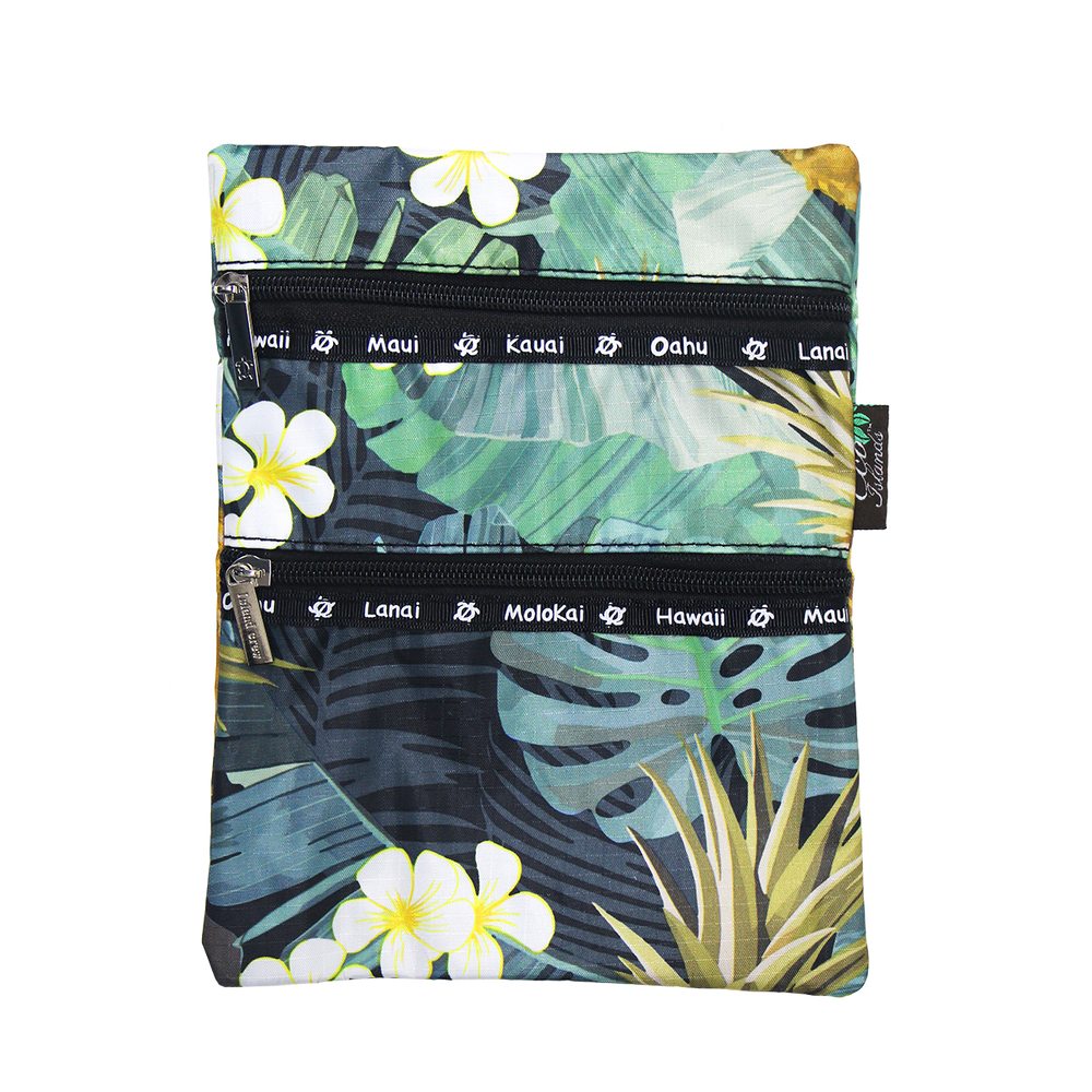 MONSTERA PINEAPPLE Passport bag - BLACK