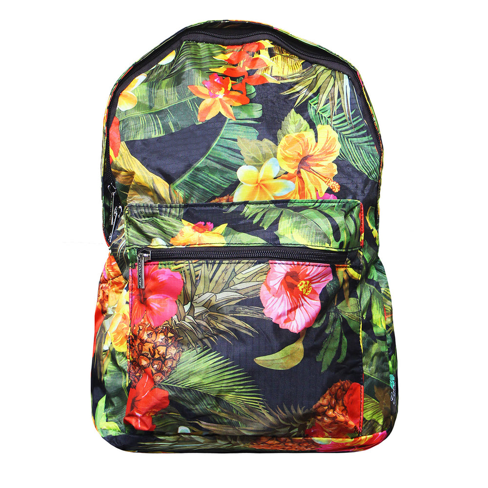 Hawaii Foldable Backpack TROPICAL GARDEN - BLACK / AQUA
